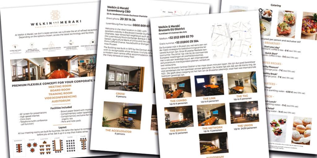 : Extrait de pages des brochures étrangères pour les 3 bureaux de co-working