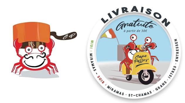 : Création de logo, avec le personnage qui devient la mascotte du restaurant décliné dans plusieurs actions.