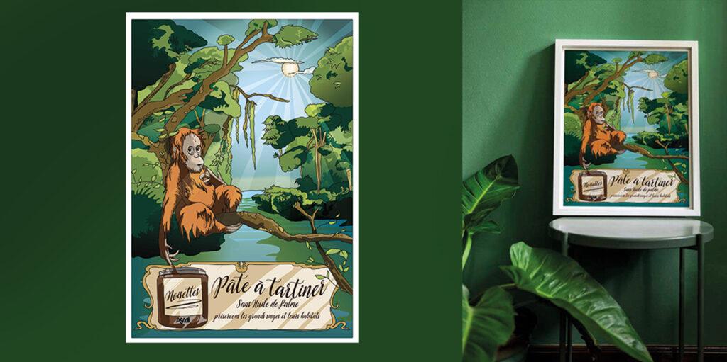 : Illustration en clin d'œil pour Papa outang - Pâte à tartiner 100% naturelle