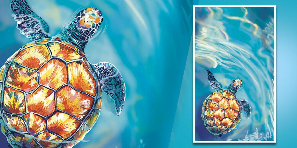 : Illustration - Hommage aux tortues feu d'artifice, en soutien à Cest MED
